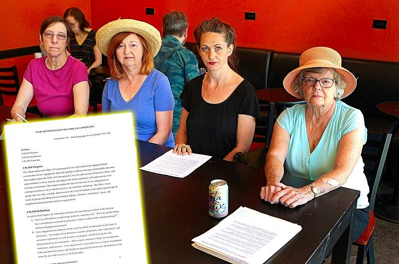 DAVID F. ASHTON - Gathered to discuss the Portland Office of Community and Civic Lifes Committee 3.96 recommended code changes are (from left): BDNA Equity & Inclusion Committee Chair Meg Van Buren; BDNA Board Member Pam Hodge; WNAs Southeast Uplift Delegate Anna Weichsel; and BDNA Land Use Committee Chair Stephenie Frederick.