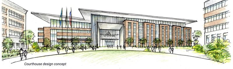 COURTESY PHOTO: CLACKAMAS COUNTY PUBLIC AND GOVERNMENT AFFAIRS - A courthouse design concept makes the building look like an eagle with the two wings of the courthouse spanning the two current main county administrative buildings.