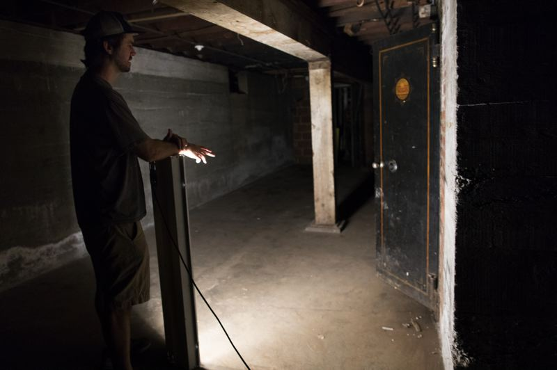 PMG PHOTO: JAIME VALDEZ - Although most of the original features have been removed from the Phoenix Pharmacy building, the basement still contains a built-in safe.