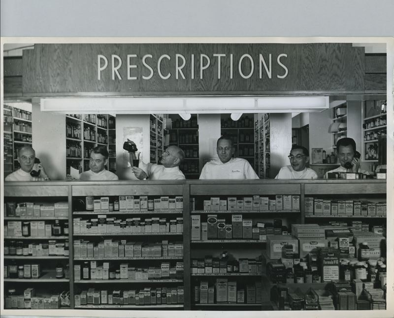COURTESY: LEACH BOTANICAL GARDEN - A contingent of druggists ready to fill customer prescriptions helped the Phoenix Pharmacy in its heyday earn the title of Portlands finest suburban pharmacy