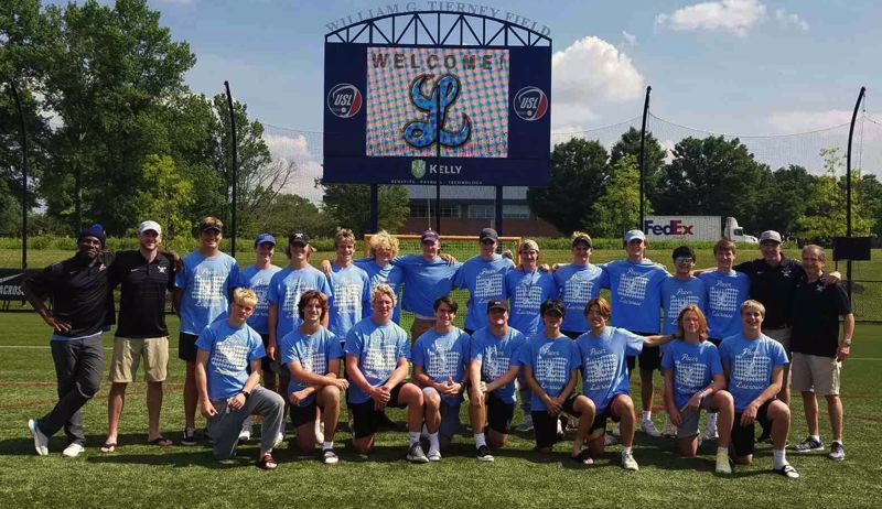 COURTESY PHOTO - The Lakeridge boys lacrosse team got a warm welcome - with the Lakeridge 'L' displayed on the scoreboard - when it arrived in Maryland for the National High School Lacrosse Showcase.