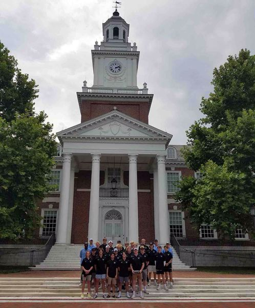 COURTESY PHOTO - The Lakeridge boys lacrosse team poses in front of one of the historic buildings at the Gilman School in Baltimore, Maryland, during an east coast trip in July.