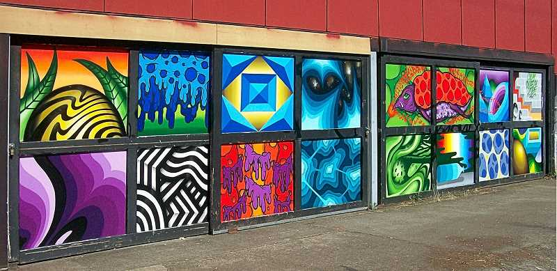 RITA A. LEONARD - Here are some of the colorful new murals along the Watershed Building - facing S.E. Milwaukie Avenue, just south of the McLoughlin Boulevard overcrossing.