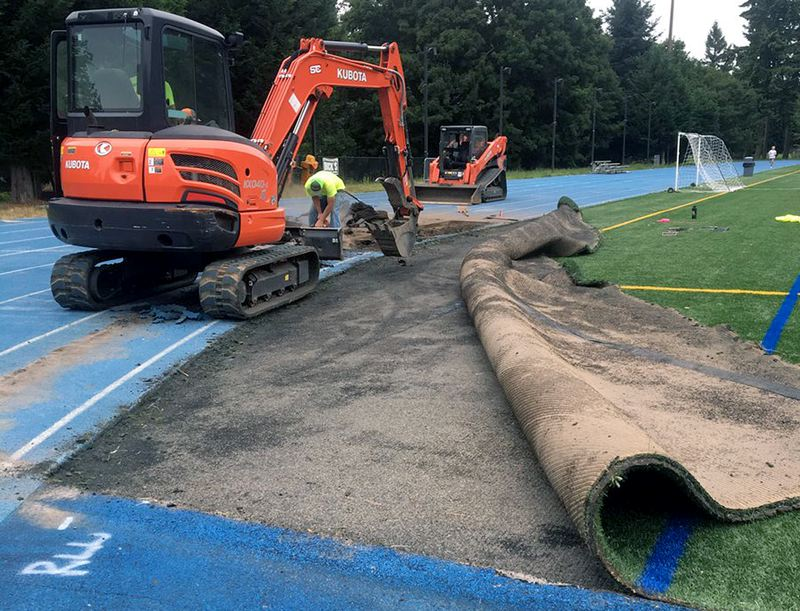 COURTESY PHOTO - Here's an early look at the ongoing project that will reconfigure and resurface the track at Lakeridge High School. The project is scheduled for completion by Aug. 10.