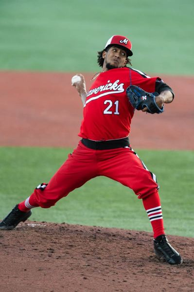 PMG PHOTO: CHRISTOPHER OERTELL - Hillsboro Hops pitcher Marcos Tineo delivers a pitch Monday, July 22, against the Eugene Emeralds. Tineo tied the visitors in knots for five innings, mixing it up with his low-90s fastball and snapping curveball.