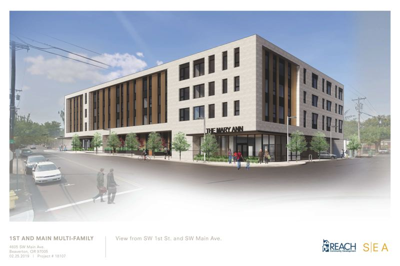 COURTESY CITY OF BEAVERTON - A schematic of the proposed Mary Ann Apartments at the northwest corner of Southwest Main Avenue and 2nd Street in Beaverton. The 54-unit project is inching closer to financing and has received final city approval. Construction is scheduled to start in early 2020.