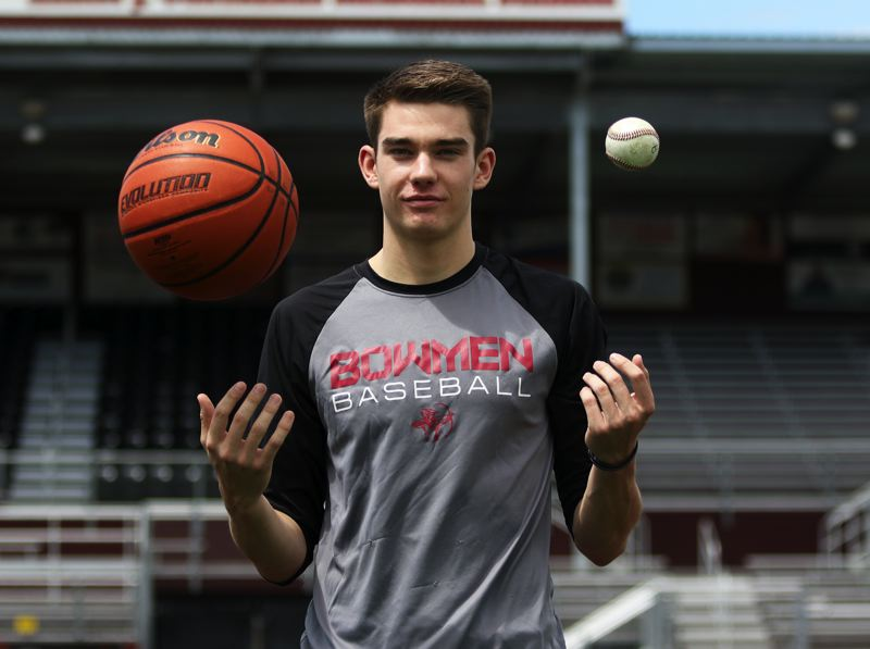 PMG PHOTO: DAN BROOD - Braden Thorn, a 2019 Sherwood graduate, shined on the basketball court and baseball diamond for the Bowmen, and was named the Times' Athlete of the Year from Sherwood High School.