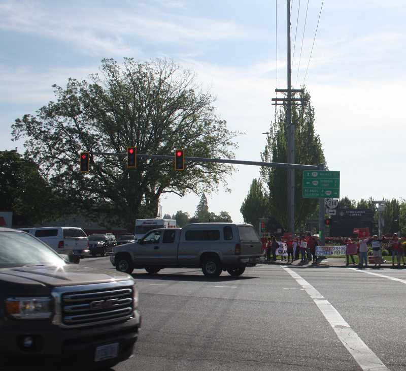 PMG PHOTO; JUSTIN MUCH - City of Woodburn and police officials said using photo-speed enforcement at the Mount Hood Ave. and Highway 99E intersection would make it safer for motorists and pedestrians alike.