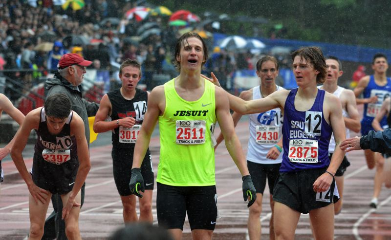 TIMES PHOTO: MATT SINGLEDECKER - Jesuit senior Will Sheaffer won his first individual state crown in the 1,500 meters.