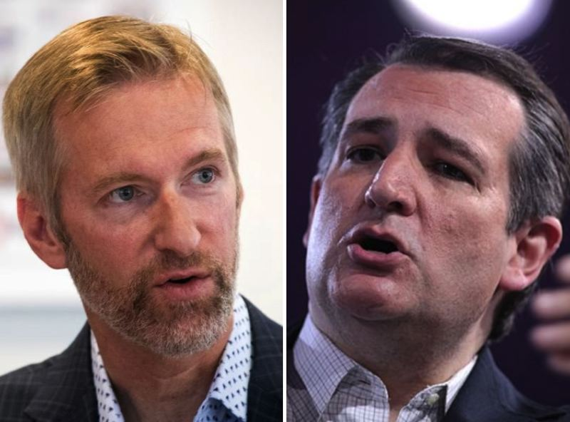 FILE PHOTOS - Mayor Ted Wheeler and Texas Sen. Ted Cruz are shown here.