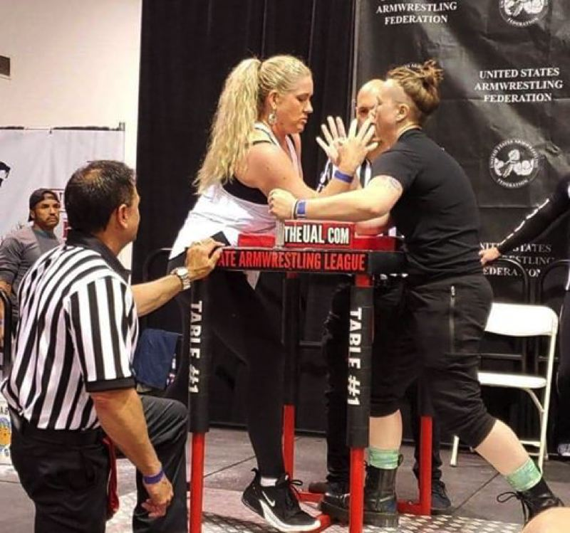 COURTESY PHOTO: NANCY NATIONS - Nancy Nations (left), who lives in Banks and is an Aloha High graduate, has been training in Portland for a shot at a title in the World Arm Wrestling Federation Championships in Romania in October.