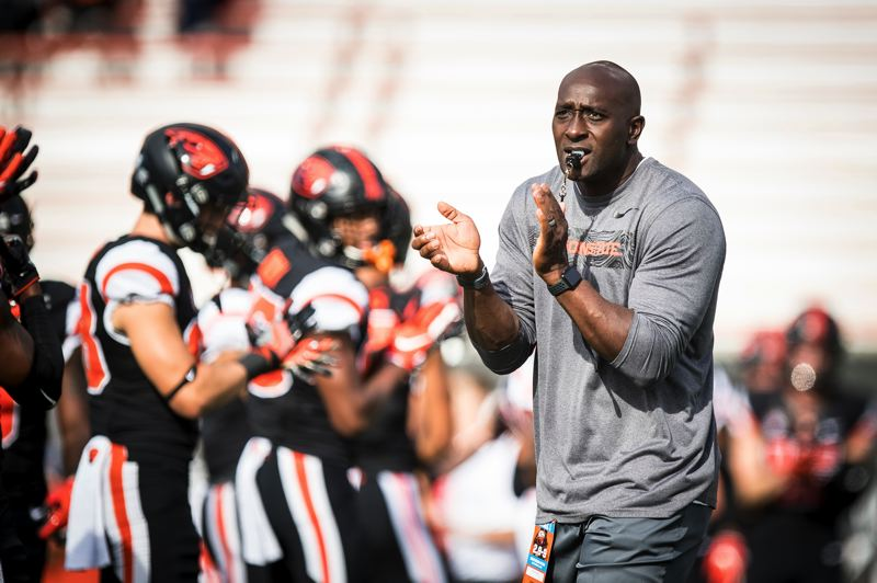 COURTESY PHOTO: KARL MAASDAM - Mike McDonald, Oregon State strength and conditioning coach, has put the Beavers football players through  summer workouts designed to increase strength, speed and flexibility.