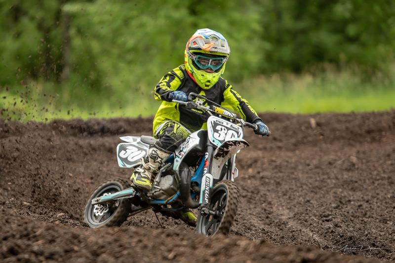 COURTESY PHOTO - Ryder Cordell, who turned 8 a week ago, takes his 2019 Cobra 50cc motorcycle through the paces.