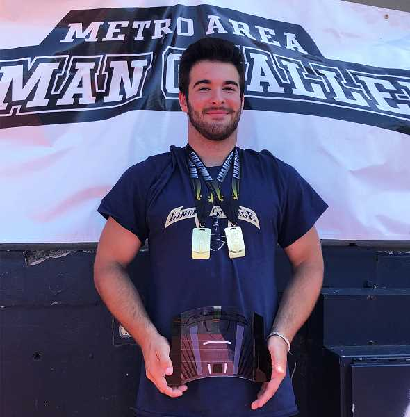 COURTESY PHOTO - Canby senior Brent Patterson won the light weight championship at the Metro Lineman Challenge Saturday, July 20 in Hillsboro.