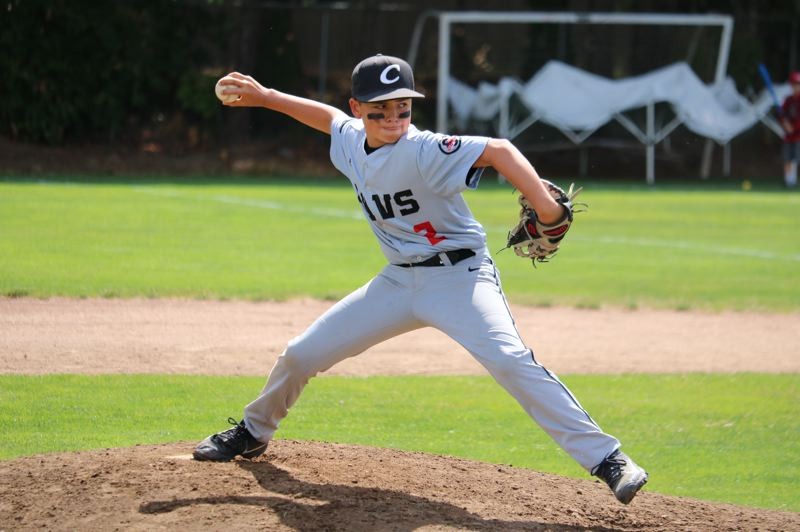 PMG PHOTO: JIM BESEDA - Clackamas' Noah Boria was among the pitchers who saw action for the Cavs in 15-10 loss to McMinnville in the opening game of the JBO Junior Federal state tournament in Sherwood.