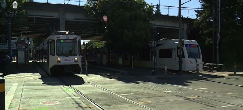 VIA KOIN 6 NEWS - A MAX train pulls away from a transit stop in the Rose Quarter.