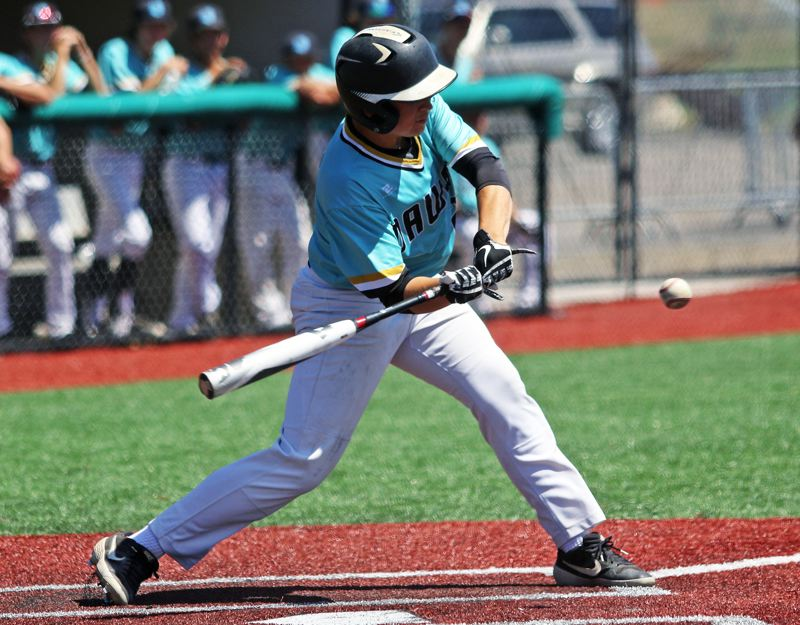 PMG PHOTO: DAN BROOD - Tualatin's Max Krahnke takes a swing during the Dawgs' 3-2 win over Oregon City in Friday's quarterfinal game at the OIBA National tourney.