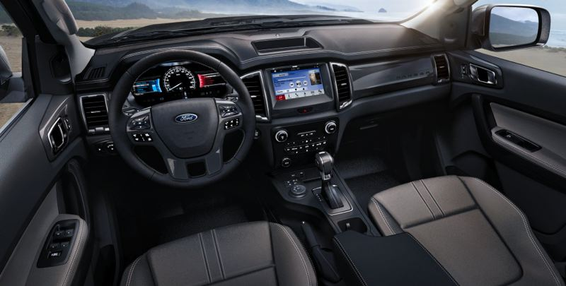 COURTESY FORD MOTOR COMPANY - The interior of the 2019 Ford Ranger is comfortable and can be ordered with the kind of luxury touches that used to only be found in top-of-the-line full size pickups.