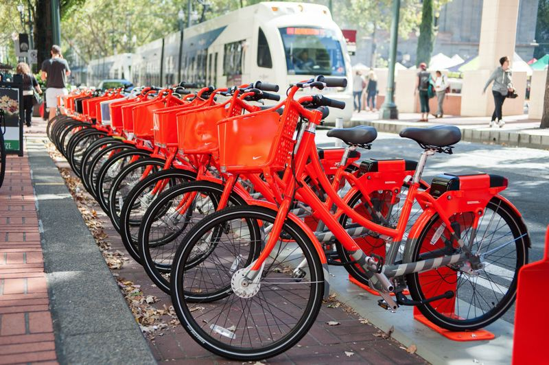FILE PHOTO - A Biketown rack at Pioneer Courthouse Square across from the MAX stop on Southwest Morrison Street is shown here.