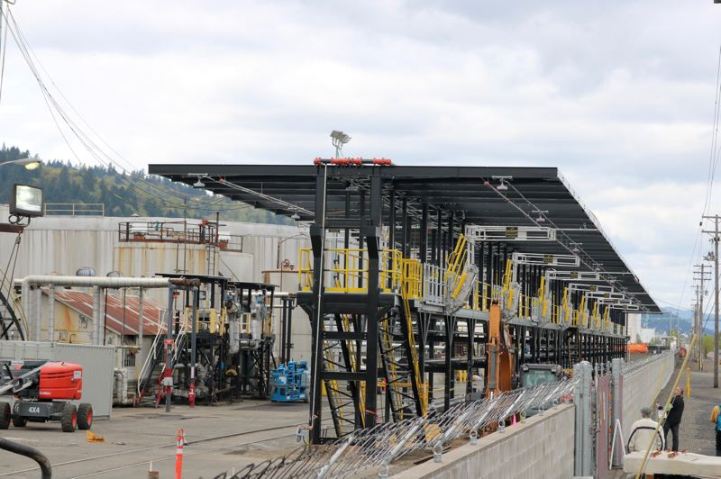 PMG PHOTO: ZANE SPARLING - A new oil train racking system was under construction at Zenith's terminal on Front Avenue in Northwest Portland in April.