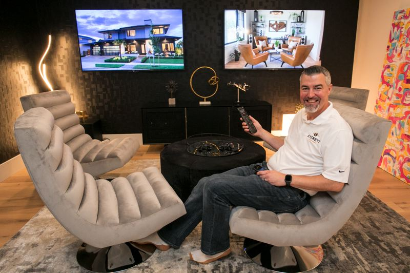 PMG PHOTO: JAIME VALDEZ - John Cappuccio, the chief information officer for Street of Dreams 2019, with Everett Custom Homes, chills in the Pacific Usonia smart home whose network he designed.