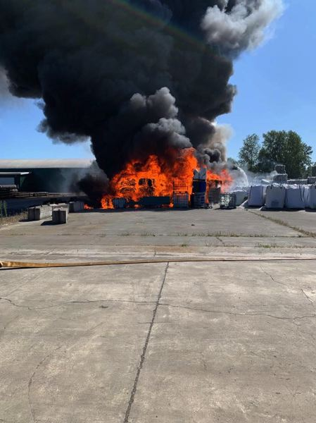 PHOTO COURTESY OF COLUMBIA RIVER FIRE AND RESCUE - Columbia River Fire and Rescue crews responded to a blaze at a St. Helens recycling plant on Sunday, July 28.