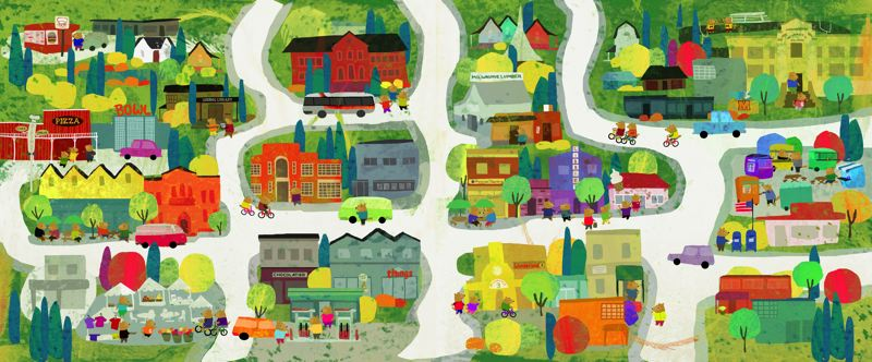 COURTESY PHOTO - Milwaukie landmarks are recognizable in this two-page spread from Lisa Mundorff's new 'Welcome Home' children's book being distributed nationally.