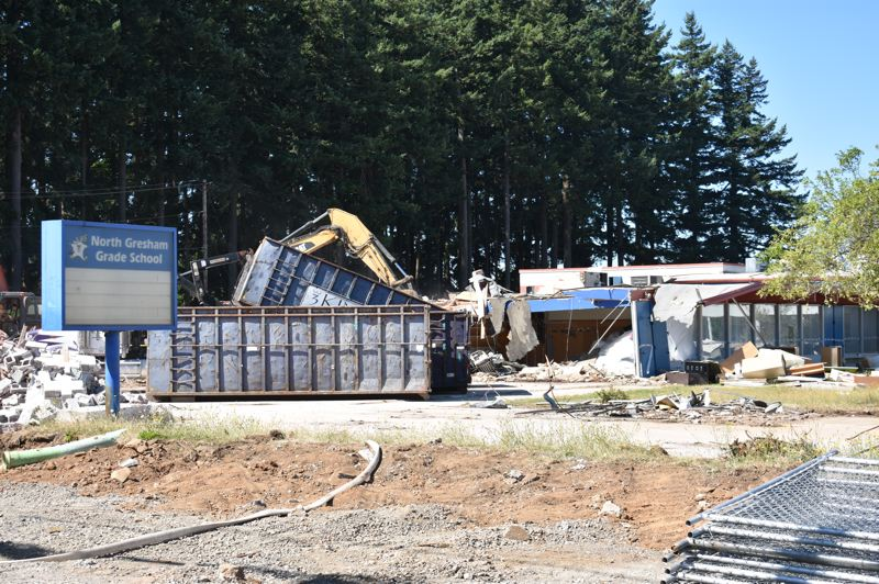 PMG PHOTO: TERESA CARSON - Nor much left of the 58-year-old school but the old blue sign.