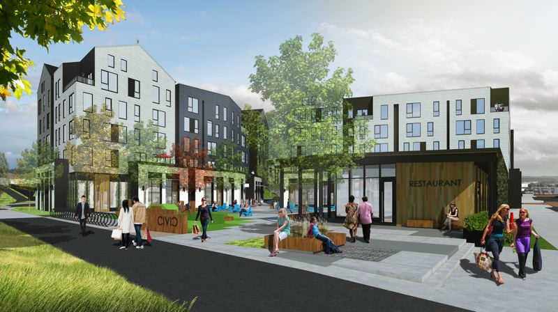 RENDERINGS COURTESY OF YBA ARCHITECTS - The Wood Partners development will have restaurants and other amenities and is located conveniently next to the light rail.