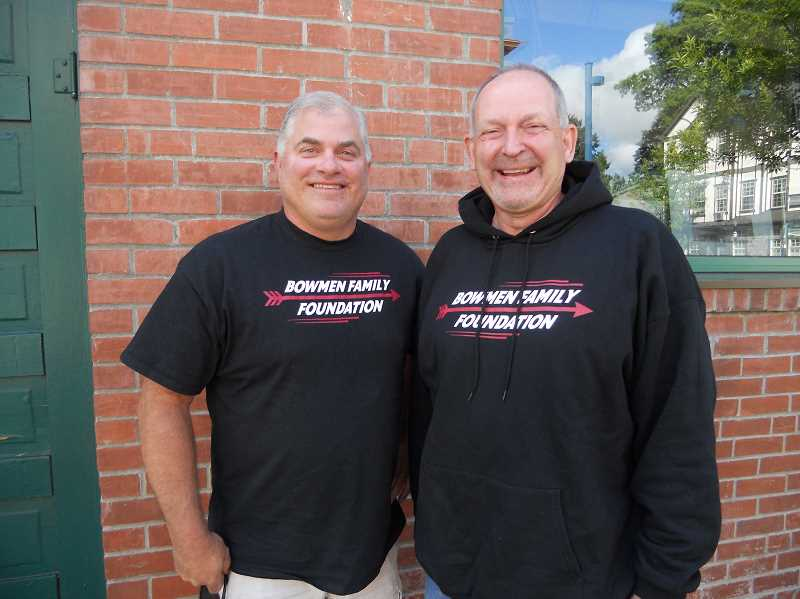 PAMPLIN MEDIA GROUP: SCOTT KEITH - Mark Gribble, left, and Roger Schenk head up the Bowmen Foundation, which helps those in need in Sherwood.