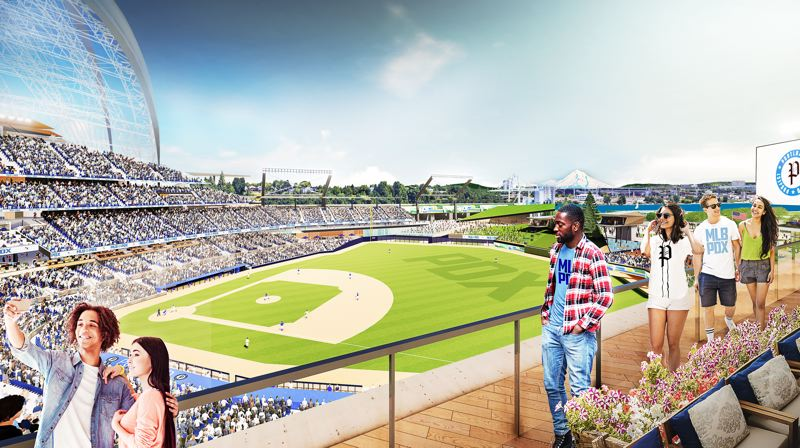 COURTESY: PORTLAND DIAMOND PROJECT - A rendering depicts the view from a 'Garden Roof Deck' at a new baseball stadium that has been proposed for Portland's Terminal 2.