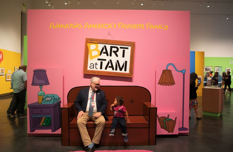 COURTESY PHOTO: TACOMA ART MUSEUM - 'The Simpsons' exhibit at Tacoma Art Museum features a couch, just like from the TV series, for fans to take photos.