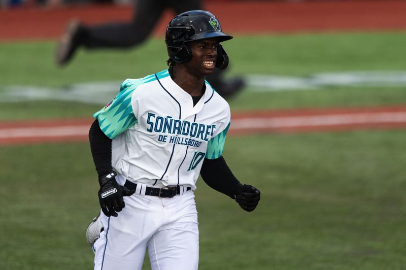 PMG PHOTO: CHRISTOPHER OERTELL - Kristian Robinson is an 18-year-old outfield prospect from Nassau, Bahamas, who has compiled nine home runs, 10 stolen bases and a .322 batting average over 40 games with the Hillsboro Hops.