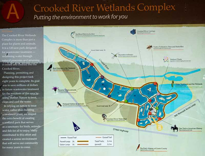 LON AUSTIN/CENTRAL OREGONIAN - A map of the Crooked River Wetlands Complex is one of 13 informational kiosks in the complex. The map is located near the parking lot and covered picnic area.