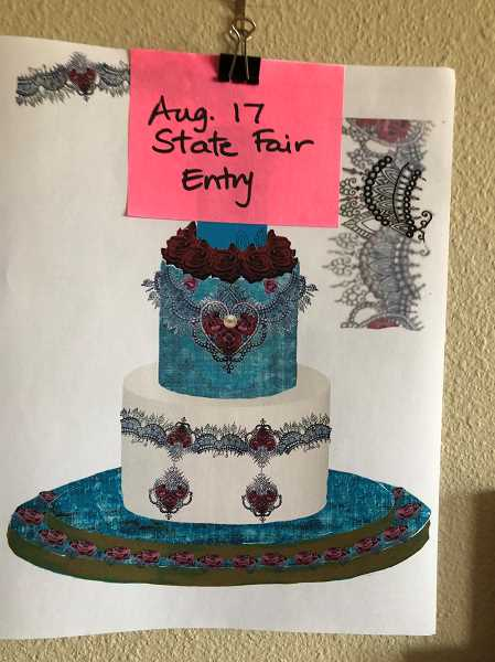 Leslie Foster and Kati Cline say every cake begins with a drawing of the design. The engineering of the cake sculptures takes as much time as building the cake. This is the drawing for the cake they built for Winner Cake All, which they are rebuilding to exhibit at the Oregon State Fair.