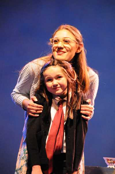 Cora Craver also plays Matilda in the Lakewood Theatre Company production of Matilda, The Musical. She poses here with Brooke Moltrum, who plays Miss Honey.