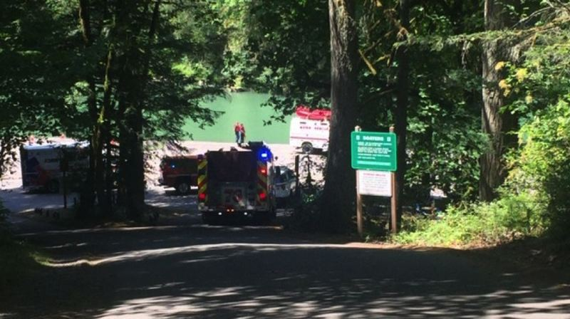 COURTESY PHOTO: KOIN 6 NEWS - Emergency crews responded to Oxbow Regional Park today, July 30, where an 8-year-old boy drowned in the Sandy River.