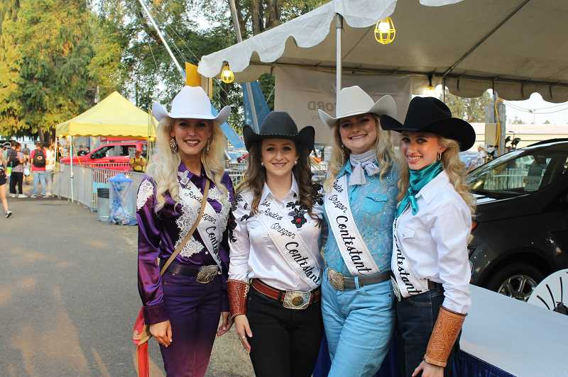PMG FILE PHOTO: KRISTEN WOHLERS - Samantha Henricks was also a contestant in the Miss Rodeo Oregon 2019 pageant, which took place at the 2018 Clackamas County Fair and Canby Rodeo. Her fellow contestants are from left to right are: Taylor Skramstad (who won and currently holds the title), Henricks, Morgan Spear and Kelsey Leinbach.