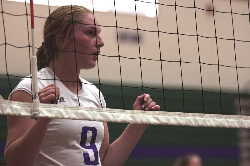 PMG PHOTO: PHIL HAWKINS - After playing her first two years for the Gervais Cougars, junior outside hitter Mary Davidson transferred to St. Paul over the summer.