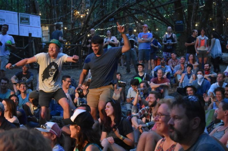 PMG PHOTO: SHANNON O. WELLS - Music fans groove to the neo-psychedelic soul sounds of Black Pumas at Pickathon's Woods Stage in August 2018.