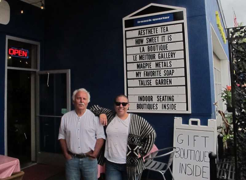 PMG PHOTO' BILL GALLAGHER - Yves and Sara LeMeitour outside boutiqe row at their Multnomah French Quarter.