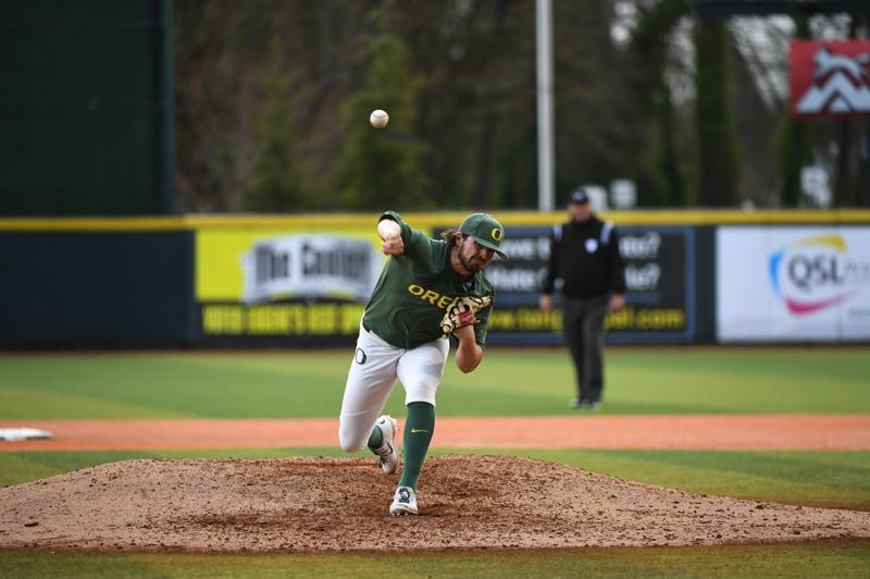 COURTESY PHOTO: DEBORAH MUNDROFF GODUCKS.COM - University of Oregon pitcher Kenyon Yovan has earned accolades as both a reliever and a starter for the Ducks.
