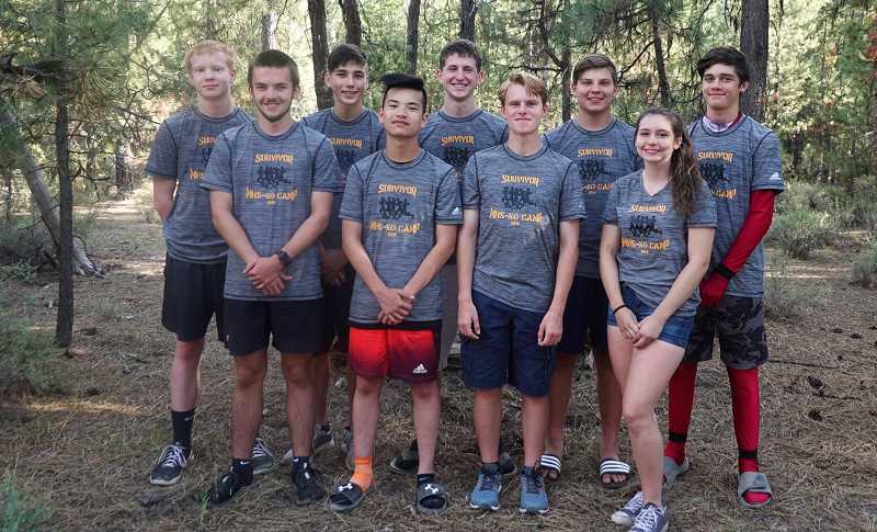 COURTESY PHOTO - Members of Molalla's cross country team Kadyn Eves, front row, from left, Kevin Zhou, Noah Roth, Kelsey Childress, AJ Deardorff, Domynic Martinez, Brendan Perla, Adon Farner and Riley Reynolds spent July 22-26 in Central Oregon.