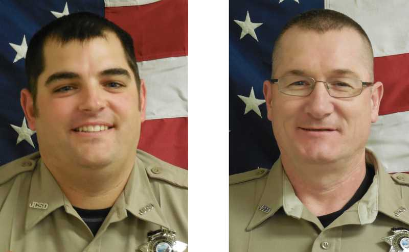 SUBMITTED PHOTOS - Cpl. Tony Hansen, left, and deputy Michael Durkan, of the Jefferson County Sheriff's Office, are seeking $10 million in damages from those involved in their prosecution for an inmate's death. They were acquitted of the charge of manslaughter.