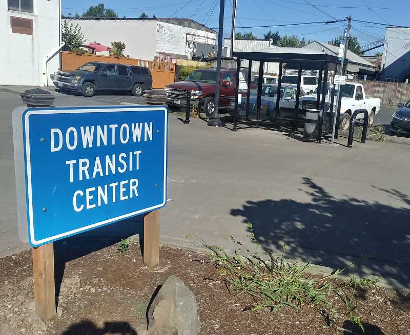 PMG PHOTO: JUSTIN MUCH - Woodburn Transit Center at First and Arthur streets downtown has seen little use during the summer months due to construction. But that will change when construction ends and additional stops, including Saturday service, are added to the Woodburn/Salem Express route in September.