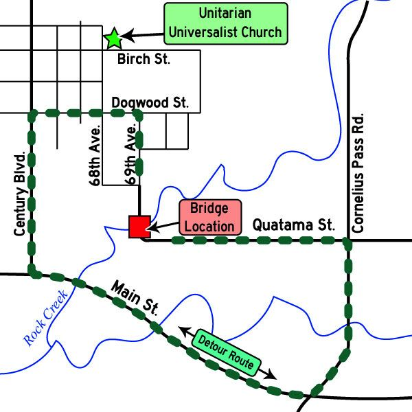 COURTESY MAP: WASHINGTON COUNTY - The planned closure of Northeast 69th Avenue is marked by a red square, while the green dotted line represents the detour route while the road is closed.