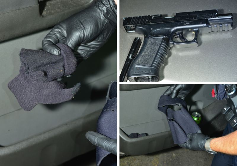PPB PHOTOS - Portland Police say they recovered gloves, a mask and a fake gun during the incident.