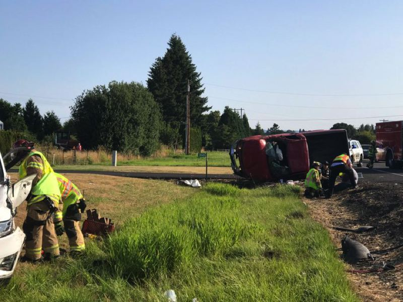 COURTESY PHOTO: FOREST GROVE FIRE & RESCUE - A crash in the Dilley area on Saturday morning, Aug. 3, left seven injured and briefly closed Highway 47.