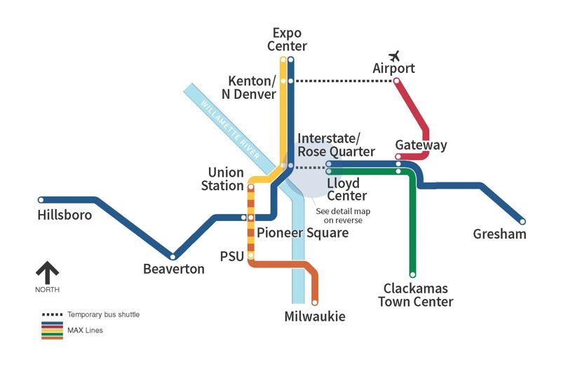 COURTESY TRIMET - A map of the disruptions caused by the improvement project.