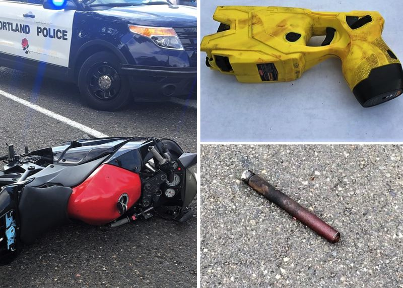 VIA PPB - Portland Police released images of the motorcycle, Taser and part of the baton involved in this incident.